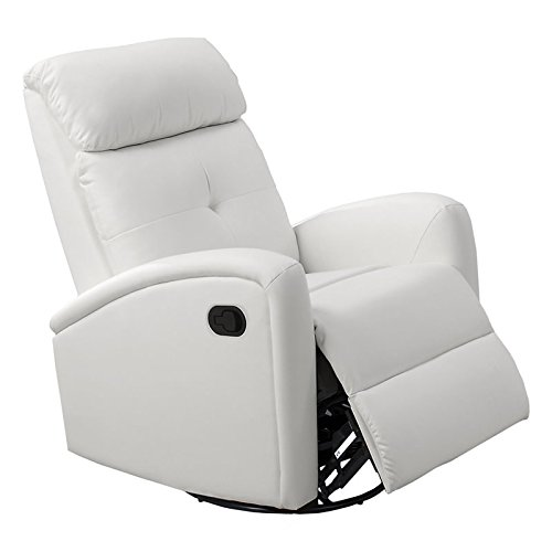Full Recliner Swivel Leather Glider (Monarch I 8088Wh Swivel Glider Recliner, White)