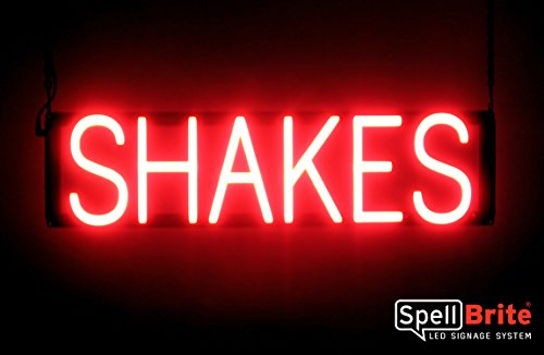 SpellBrite Ultra-Bright SHAKES Sign Neon-LED Sign (Neon look, LED performance)