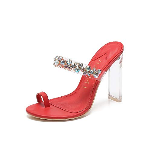 MACKIN J Sandals 254-5 Clear High Heel Sandals for Women Open Toe with Rhinestone Toe Ring Strappy Sandals Heels (11, RED) Crystal Star Toe Ring