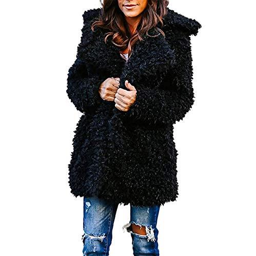 Automne Chaud Manches Rayé Femmes Revers Noir Mode Pardessus Sweat Survêtement Outwear À Dames En Et Laine Longues Artificielle Capuche D'hiver Hauts De Ensemble wqr0wva