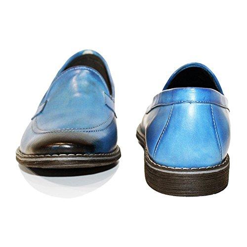 PeppeShoes Modello Lato - Handmade Italiano da Uomo in Pelle Blu Mocassini e Slip-On - Vacchetta Pelle Verniciata a Mano - Scivolare su