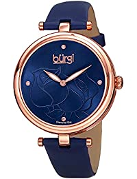 Women's Accented Rose Dial Blue Women's Watch - 4 Diamond Hour Markers With Silver Diamond Dial And Blue Leather Strap - BUR151