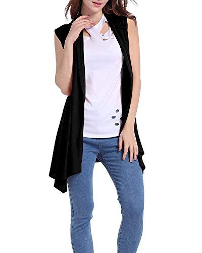 Schwarz Estivi Forcella Sleeveless Asimmetrico Outwear Casual Moda Donna Relaxed Coat Cardigan Leggero A Donne Battercake Gilet Eleganti Monocromo Aperto Casuale Lunga qx8RRt