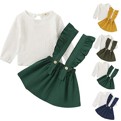 1-6 jaar baby meisjes mode kleding set meisjes katoenen jarretel jurk set, Groen, 4-5 jaar