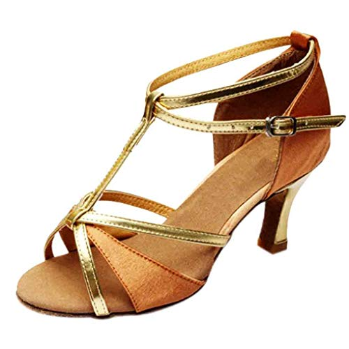 Todaies Latin Dance Shoes,Girl Med-Heels Satin Shoes Party Tango Salsa Dance Shoes (37, Brown) (Footwear Satin Natural)