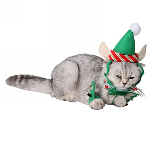 BUYITNOW Christmas Pet Costume, Santa Elf Hat with Ears Neck Collar Cuffs