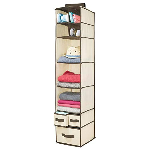 mDesign Soft Fabric Over Closet Rod Hanging Storage Organizer with 7 Shelves and 3 Removable Drawers for Clothes, Leggings, Lingerie, T Shirts - Cream/Espresso Brown - Boxer Necktie