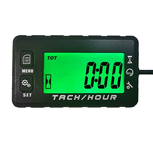 Runleader Digital Self Powered Hour Meter Tachometer,Maintenance Reminder,Alert RPM Reminder,User shutdown,Waterproof,Use for ZTR Lawn Mower Generator Marine ATV Motor and Gas Powered Equipment