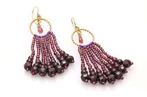 Circle Garnet Tassel Earrings with Garnet Briolettes