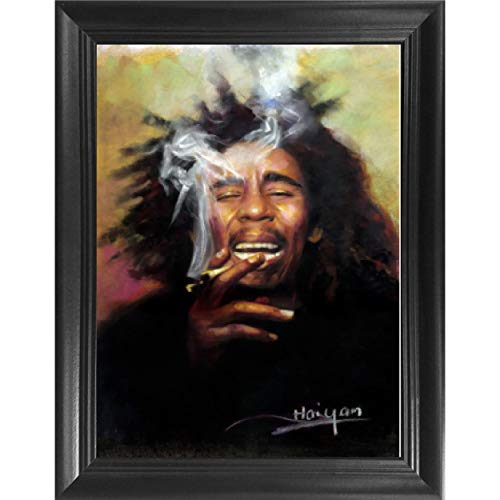 Bob Marley 3D Poster Wall Art Decor Framed Print | 14.5x18.5 | Lenticular Posters & Pictures | Memorabilia Gifts for Guys & Girls Bedroom | Trippy Rasta Reggae Legend Album & One Love Smoking Picture