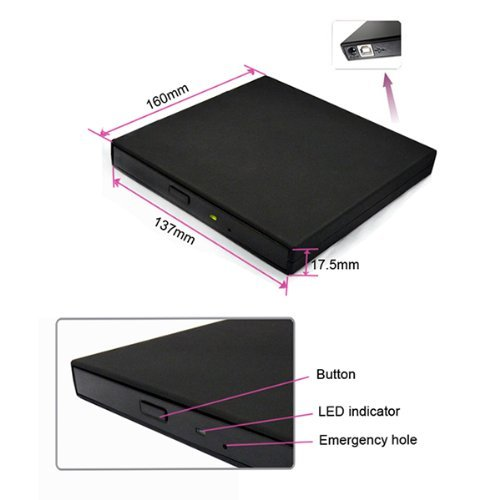 USB 2.0 External Slim CD-ROM Drive for Acer Aspire by Brainydeal (Image #5)