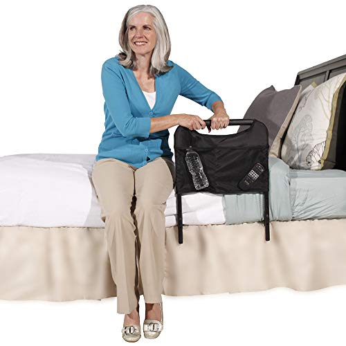 Able Life Bedside Safety Handle, Senior Bed Rail and Adjustable Height Assist Bar with Organizer Pouch
