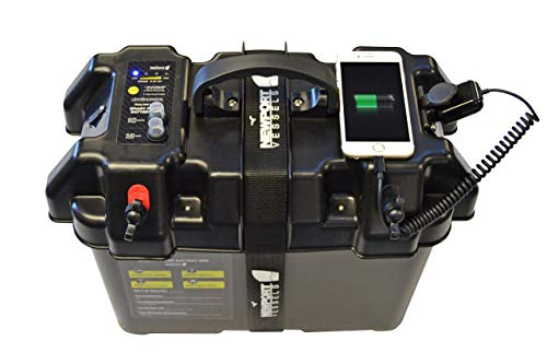 Newport Vessels Trolling Motor Smart Battery Box Power Center with USB and DC Ports (Renewed) (Battery Box Meter)