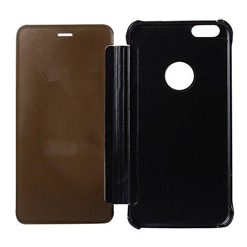 Phone Taschen & Schalen Für iPhone 6 Plus & 6s Plus Galvanik Spiegel Horizontal Flip PC + Leder Schutzhülle ( SKU : S-IP6P-0743B )