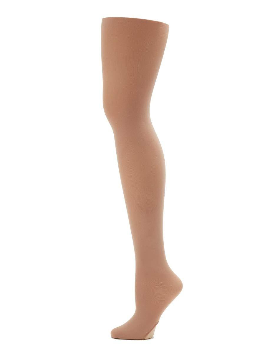 Capezio Girls' Big Ultra Soft Self Knit Waistband Tight, light suntan, One Size by Capezio