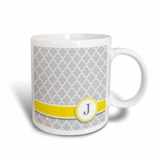 - 3dRose mug_154576_1 Your Personal Name Initial Letter J Monogrammed Grey Quatrefoil Pattern Personalized Yellow Gray Ceramic Mug, 11-Ounce