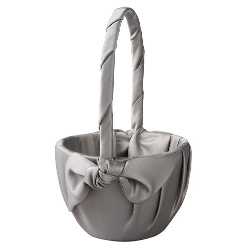 Ivy Lane Design Love Knot Flower Girl Basket, Platinum (Silver Basket Cake)