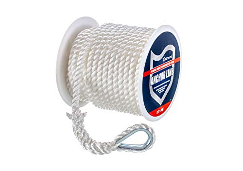 - attwood 11734-1 Premium 3-Strand Twisted Nylon Anchor Line with Thimble 3/8-Inch x 100-Feet, White