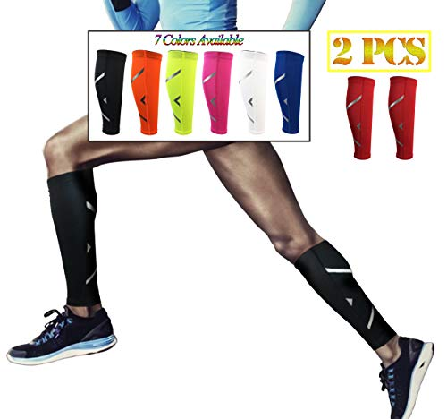 HiRui Calf Compression Sleeve, Calf Brace Leg Sleeve Support for Shin Splint & Calf Pain Relief – Basketball Football Calf Sleeve, Guard for Youth & Adult Runners-Color as Shown (1 Pair) (Red, M)