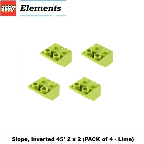 Lego Parts: Slope, Inverted 45° 2 x 2 (PACK of 4 - Lime)