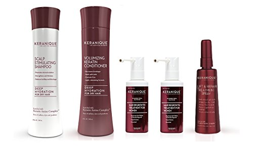 Keranique 60 Day Regrowth Deep Hydrating 4pc Kit (Deep Hydrating Shampoo & Conditioner, Dual Minoxidil, 3.4 oz Lift and Repair)