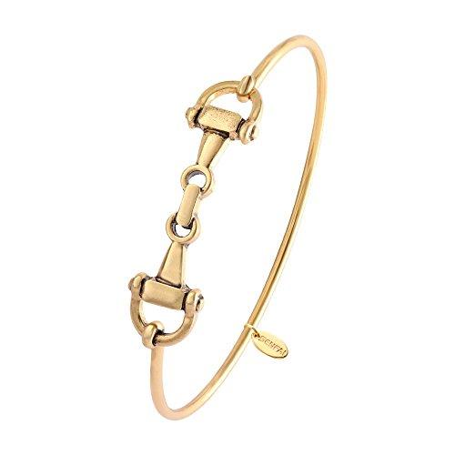 Horsebit Snaffle - SENFAI Horse Snaffle Bit Hook Clasp Charm Bracelet Bangle Jewelry (Antique Plated Bracelet, Gold-Plated-Base)