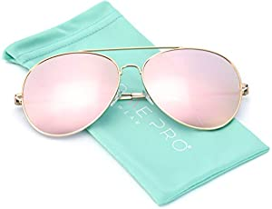 WearMe Pro - Mirror Pink Lens Cute Women Large Aviator Sunglasses