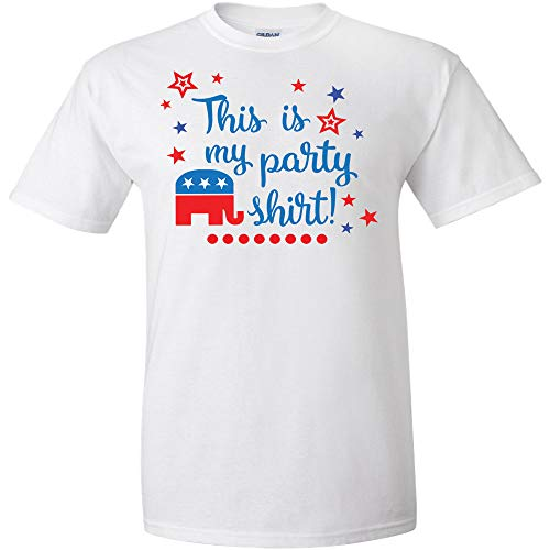 - This Is My Party Shirt Republican Political Elephant Logo T Shirt Mens Politics Political Election Democrat Republican Liberal Adult Joke Clever Fun Tee