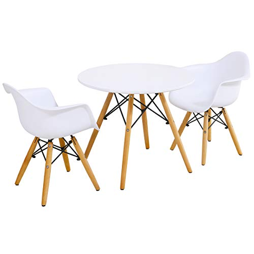 Costzon Kids Mid-Century Modern Style Table Set, Kids Table and 2 Chair Set, Round Table with Armchairs for Toddler Children, Kids Dining Table and Chair Set (White, Table & 2 Chairs)