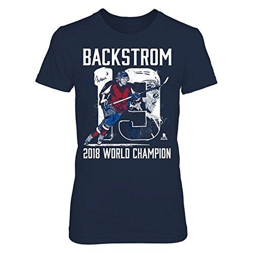 FanPrint Nicklas Backstrom T-Shirt - Player Number - 2018 World Champion - Women's Tee/Navy/S
