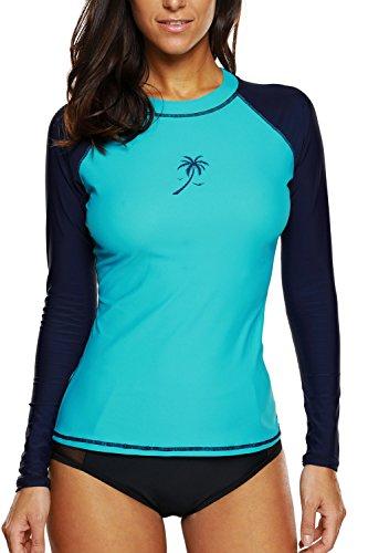 83d0578dd4c96 vivicoco Women s Long Sleeve Rash Guard Swim Shirt UPF 50+ Printed Rashguard