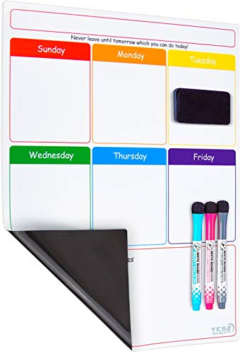 Magnetic Dry Erase Weekly Calendar for Fridge with Stain Resistant Technology - 16 x 12 in - Includes 3 Premium Markers and Big Eraser - Weekly Calendar Whiteboard - Refrigerator White Board Planner (Daily Calendar Whiteboard)