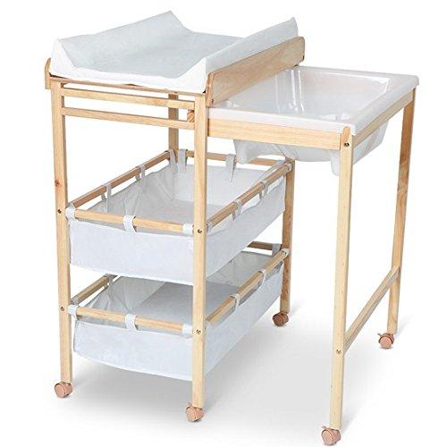 Commode /à langer avec baignoire int/égr/ée en tissu et bois Blanc