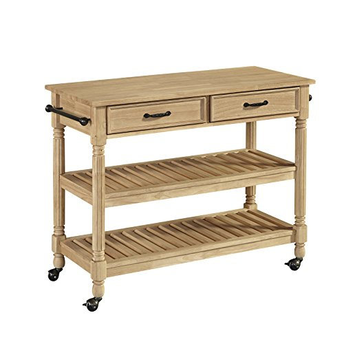 Crosley Furniture Cf3008 Na Roots Rack Industrial Kitchen Cart: Amazon.com: Savannah Natural Wood Finish Kitchen Cart With