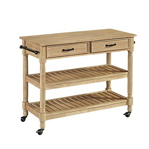 Savannah Natural Wood Finish Kitchen Cart with Solid Wood Top (Kitchen Savannah)