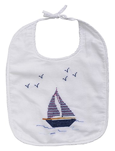 - The Designs of Distinction Baby Bib, White, Sailboat