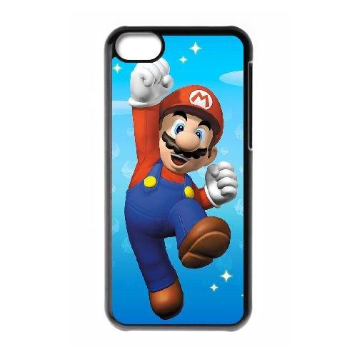 Y1D23 Super Mario Bros E3J8MV cas d'coque iPhone de téléphone cellulaire 5c couvercle coque noire WT6NCC8CJ