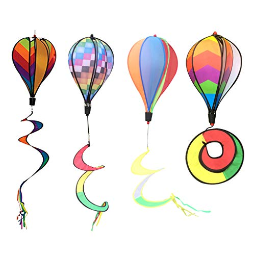 Spiral Windsock - Fityle 4Pcs 55 '' Hot Air Balloons Windmill windsocks Spiral Windmill Garden Yard Lawn Patio Festival Decor