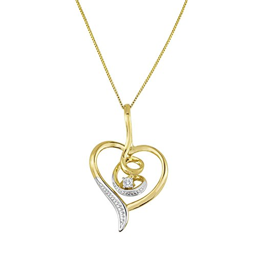 Espira 10K Yellow Gold Diamond Swirl Heart Pendant Necklace (0.03 cttw, J-K Color, I2-I3 (Gold Diamond Swirl)