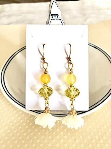 Chandelier Cream Flower Petal Tassel Gold Earrings