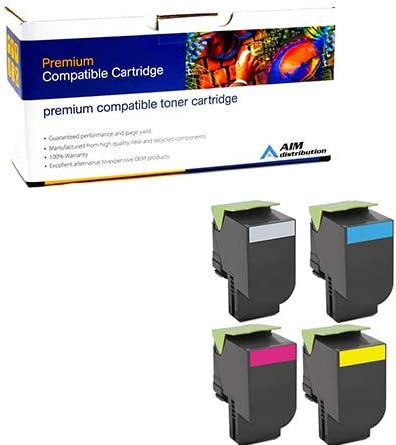 NO. 801S AIM Compatible Replacement for Lexmark CX-310//410//510 GSA Toner Cartridge Combo Pack - Generic 80C0SMP BK//C//M//Y