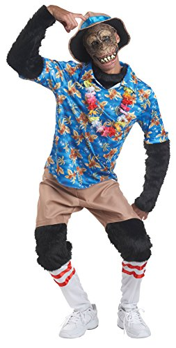 [UHC Men's Tourist Chimp Monkey Funny Comical Theme Party Adult Halloween Costume, OS] (Boots The Monkey Costume For Adults)