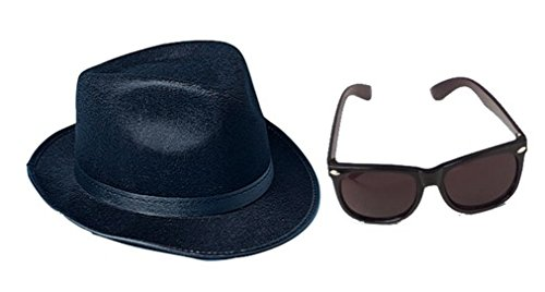 Black Fedora Gangster Blues Brothers Costume Accessory Kit- Fedora and - Glasses Urkel Steve