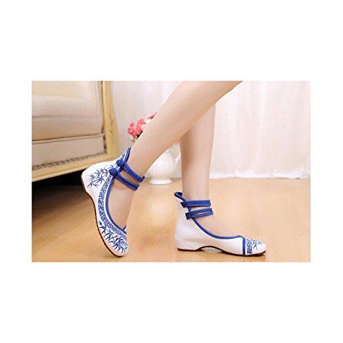 Chaussures Florales Chinoises Brodées Vintage Femme ZHUZI Ballerines Mary Jane Ballerine Flat Ballet Cotton Loafer Bleu