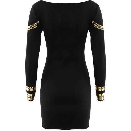 Robe Femme Mini Feuille Or Style Kim Kardashian Moulant Mi Long - 40 42 M/L, noir