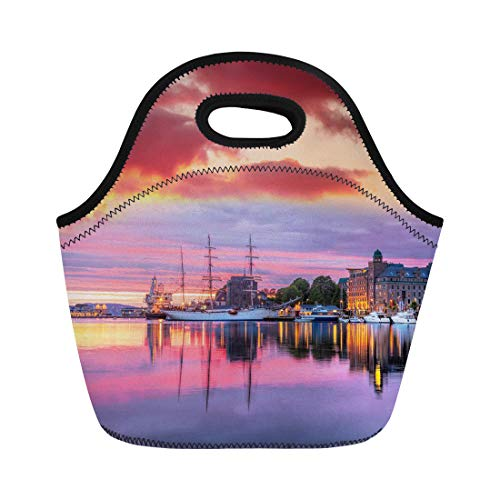 Semtomn Lunch Bags Ancient Bergen Harbor Boats Against Colorful Sunset in Norway Neoprene Lunch Bag Lunchbox Tote Bag Portable Picnic Bag Cooler Bag