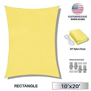 Toldo en vela personalizable de 3 x 4m de tejido permeable que protege contra los rayos UV, ideal para patios rectangulares o piscinas