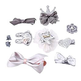 CanViUKK 10 Pcs Kids Girls Hair Bows Clips, Bowknot Crown Hair Barrette Hairpin Wispy Clippy Hair Accessories for Baby Girls Kids, Silver gray