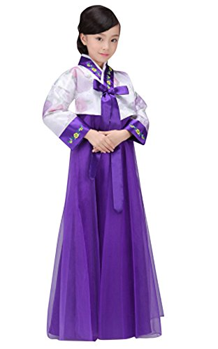 The Korean Traditional Costume (CRB Fashion Girls Traditional Kids Korean Hanbok Outfit Dress Costume (100cm, White/Purple))