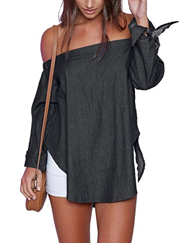 Denim Long Sleeve Blouse - Just Quella Women's Off The Shoulder Top Blouse 8422 (M, Black Denim)